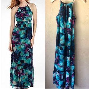 a.n.a Chiffon Halter Floral Maxi Dress Blue Purple